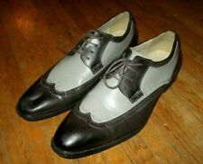 ANTONIO CERRELLI OXFORD WING TIPS SHOES Black Gray Silver 2-Tone Faux Leather 12