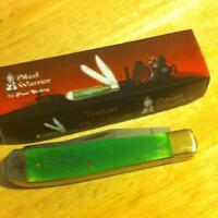 "Frost Steel Warrior Smooth Green Bone Trapper 4 1/8"" Pocket Knife FSW108GSB"