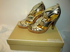 MICHAEL KORS Robertson T Strap Metallic Gold Leather Shoes Heels 9.5M