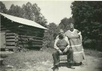 Old Farmer and Fat Farm Wife Log Cabin Barn Overalls 1930s Depression Era Photo