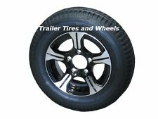 "AM01B 4.80-12 LRB Bias Trailer Tire on 12"" 5 Lug Aluminum Trailer Wheel 4.80x12"
