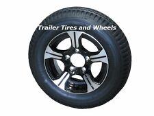 "AM01B 4.80-12 LRB Bias Trailer Tire on 12"" 5 Lug Aluminum Trailer Wheel 4.80x12"