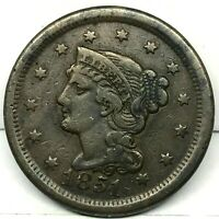 1851 Penny Braided Hair Large Cent - Original- Nice Coin. #2.2