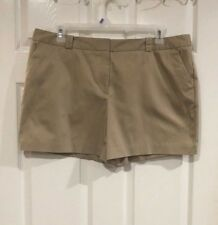 Worthington Womens Shorts Size 18 Khaki Flat Front Button Zip Slit Pockets