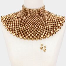 Chunky Pearl Necklace Wide Choker Bib Collar Egyptian Armor Statement BROWN