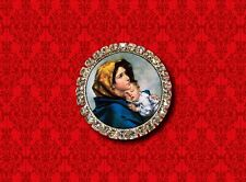 VIRGIN MARY SAINT MOTHER CHILD BABY JESUS RELIGIOUS PAINTING LAPEL PIN BROOCH