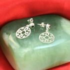 925 Sterling Silver Spiral Swirl Drop Dangle Post Earrings with Onyx