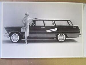 "1957 Plymouth Custom Suburban 2 door 12 X 18"" Black & White Picture"