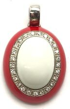 Sterling Silver 925 Cabochon Oval White Onyx / Bright Red Enamel CZ Halo Pendant