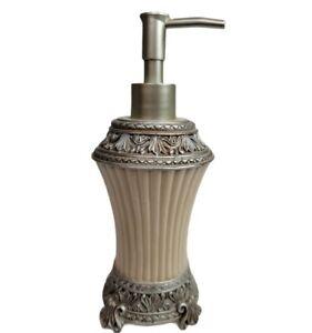 Grecian Roman Tall Resin Soap Pump Dispenser Silver Marble Motif Lotion EUC