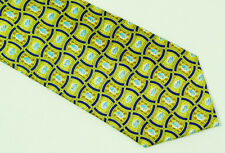 Pfizer Yellow Gold Navy Blue Geometric Patterned Silk Tie