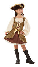 Girls Childs Kids Golden Pirate Caribbean Fancy Dress Costume Outfit Age 4-10