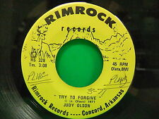 """Judy Olson Try To Forgive / Bobby Jack 1971 45 Rimrock RS 328 Concord AR 7"""""""