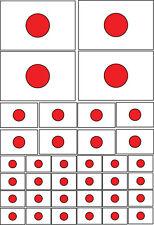 Japon / JAPANESE FLAG-Multi Pack autocollants en vinyle-différentes tailles