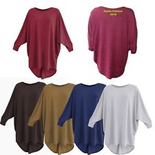 Women Plain Batwing Oversized Long Sleeve Ladies Baggy Sweater Jumper Top Blouse