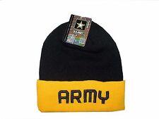 Black Yellow Army Military USA Cuff Watch Stocking Cap Beanie Winter Stocking