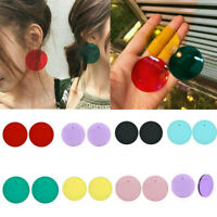 Women Transparent Geometric Circle Stud Acrylic Candy Color Earrings Round Retro