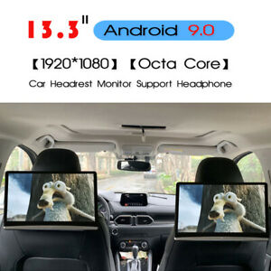 """2PC 13.3""""Android 9.0 Car Headrest Monitor Touch Screen 1080P WIFI Bluetooth HDMI"""