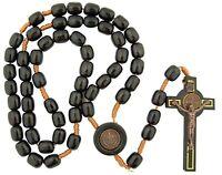 Wood Rosary Black Bronze Gold Saint St. Benedict Cord Rosario Madera San Benito