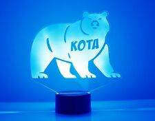 Bear Night Light Lamp - Personalized Name Free Kids Room Led Night Lamp Gift