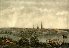 18th Century View of Coventry Mitchell, Cathedral Horses Skyline 7x5 Inch Print
