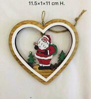 Wooden Christmas Tree Decorations Santa Craft Hanging Decor Xmas Heart Shapes
