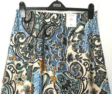 M&S Marks s10 30L Long Classic Blue Floral Aline Pull On Midi Crepe Skirt BNWT