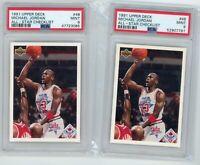 (2) Card Lot 1991 Upper Deck Michael Jordan #48 PSA 9 MINT Graded All-Star NBA
