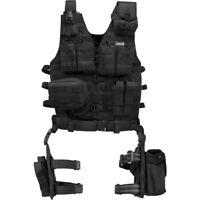 Barska Loaded Gear Black Tactical Vest with Leg Platform Holster, BI12016