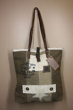 Uchi Brown/Khaki Handbag Tote Upcycled Tent Canvas with Leather Trim