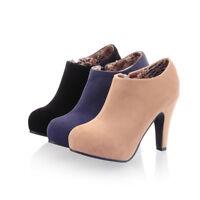 Women's Shoes High Block Heel Side Zip Ankle Boots Platform Faux Suede Sexy D