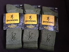 MERINO WOOL #8383 Olive Fits shoe size 9-13 Large SIX PAIR  Browning Socks