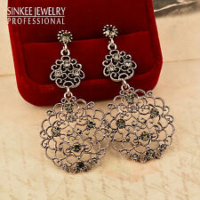 Luxury Vintage Gray Cubic Zircon Big Earrings Women Antique Silver Plated ES701