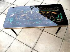 """vintage 50 """"CHEVAUX"""" table basse verre peint BE"""