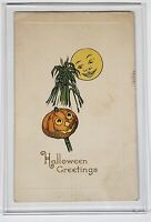 Vintage Antique 1900's Gibson Lines Halloween Greetings Post Card Pumpkin Sun
