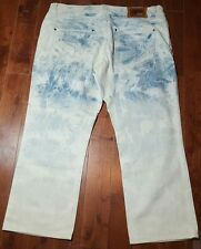 AKNOWLEDGE Blue Stone Wash JEANS Denim Men's Distressed Stains* 40x29 A595