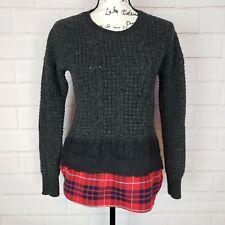 Madewell Women's Long Sleeve Merino Wool Sweater Top Plaid Bottom Size S