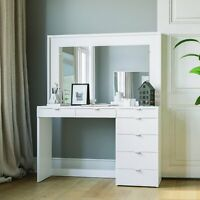 Modern Dressing Table with Mirror and 7 Drawers, White Finish