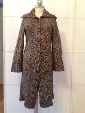 Stefanel manteau long marron chiné laine angora mohair t s excellent état
