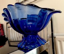 Vintage Cobalt Blue Glass Oval  Footed Fruit Bowl / Huge Art Flower Petal Design