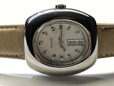 beautiful vintage gallet/racine  day/date authentic stainless steel wristwatch