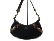 Authentic BURBERRY LONDON BLUE LABEL Black Wool, Leather Shoulder Bag BS6942L