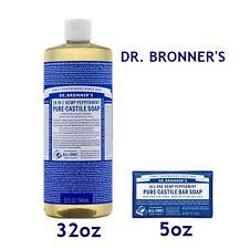 DR. BRONNER'S MAGIC ORGANIC PURE CASTILE PEPPERMINT LIQUID SOAP 32oz + A BAR 5oz