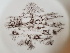 Vtg Lenox Special Collector Plate Fox Hunt Hound Horse Scene gold leaf Oxford