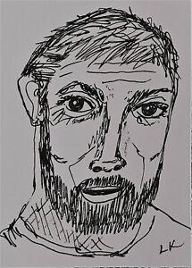 """ACEO original line drawing Man People beard by Lynne Kohler 2.5x3.5"""""""