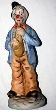 "Vintage Clown Figure Painted Mask Saxophone Musical Porcelain  8"" Figurine"
