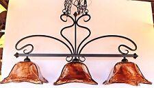 New 3 light amber hand blown glass Oil Rubbed Bronze island light ORB
