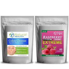 60 Frambuesa cetonas + 60 Colon Cleanse Detox cápsulas de Slim Fast Combo Pastillas