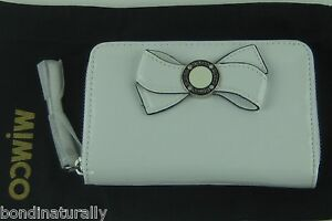 NEW MIMCO MIM BOW WHITE PATENT LEATHER WALLET CLUTCH PURSE WITH DUST BAG RRP$169