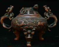 """7"""" Old Chinese Palace Bronze Dragons Loong Beast Lion Head Incense Burner Censer"""